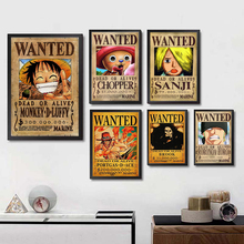 ONE PIECE WANTED Posters Luffy Zoro Sanji Nami Robin Home Decoration White Coated Paper Prints Art Brand