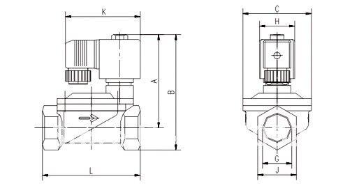 1/2 ''Размер 40 бар рабочее давление Высокая температура 2 способ латунные клапаны Тип направляющей 5404-04 PTFE уплотнение