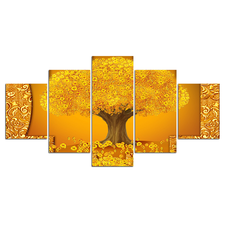 5 pieces gold golden tree copper cash wall art picture gift home decoration canvas print painting beautiful for living room in painting calligraphy from