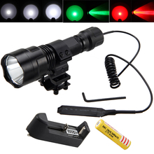 Tactical Hunting Light 2500lm T6 LED Flashlight Green/Red/White Torch+ Scope Mount +Pressure Switch+18650 Battery+Charger 5000lm torch light xml t6 led military hunting flashlight 18650 battery remote pressure switch charger