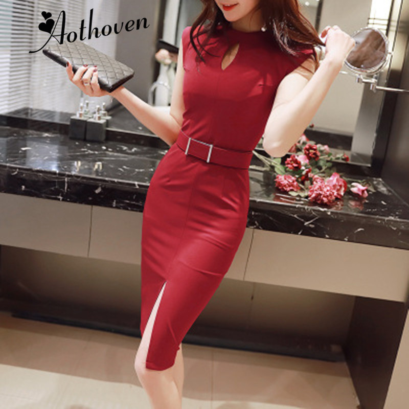 2018 Summer Hollow Out Bodycon Pencil Dress Women Red Black Sleeveless O neck Dress Casual Office Lady Elegant Party Dresses