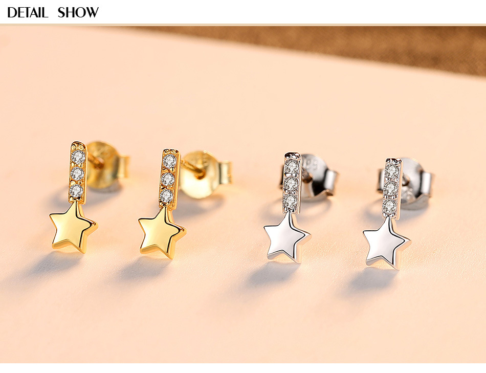 New S925 sterling silver earrings female temperament personality star earrings HGB01New S925 sterling silver earrings female temperament personality star earrings HGB01