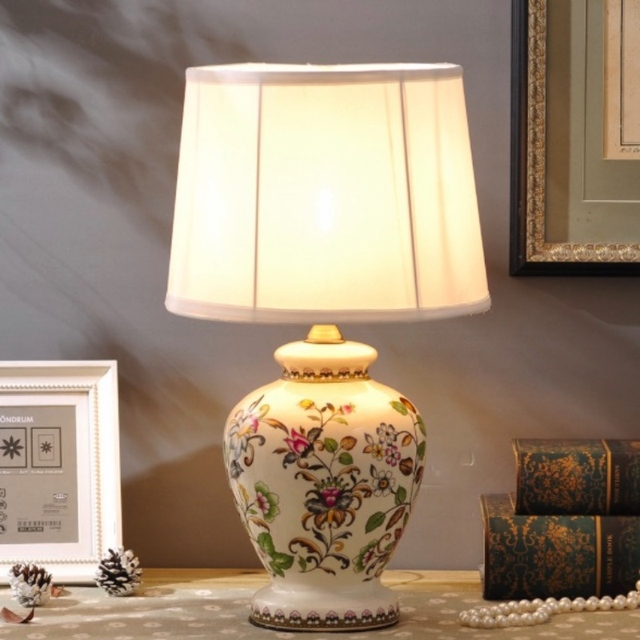 ON SALE Creative Classical Hand Painted Chinese Ceramic Led E27 Table Lamp for Living Room Bedroom Wedding Decor H 52cm 1747