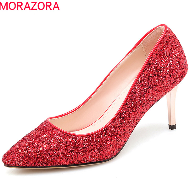 MORAZORA 2018 new fashion sequined cloth women pumps elegant red silvery wedding shoes pointed toe thin high heels shoes woman