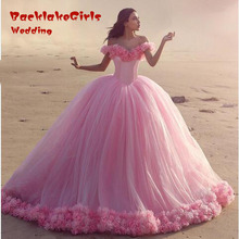Pink Flower Sweetheart Ball Gown Wedding Dresses 2017 Custom made Tulle Royal Rose Bridal Gown Romantic Elegant Vestido De Noiva