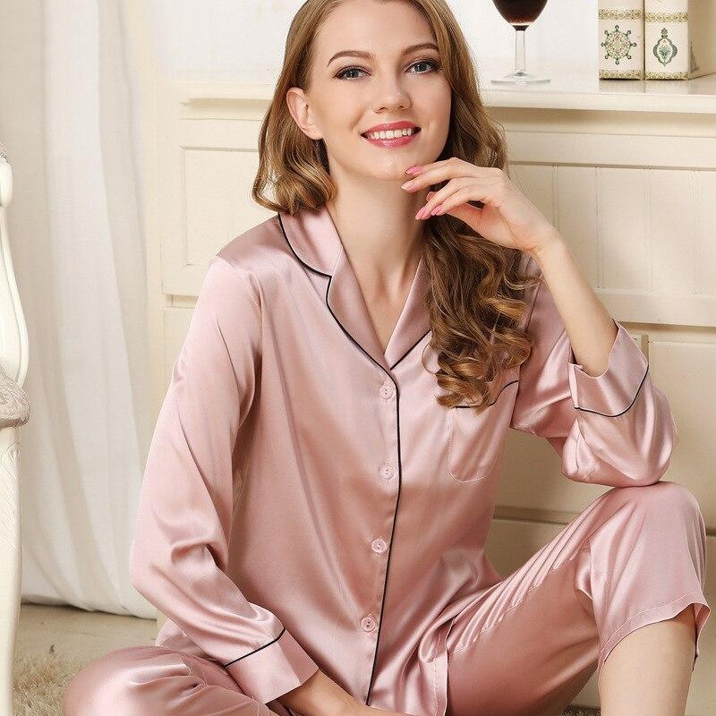 CEARPION Herbst Winter Neue Seide Dicke Frauen Pyjamas Anzug Elegante Casual Täglichen 2 stücke Hemd + hose Nachtwäsche Langarm nacht Tragen - 4