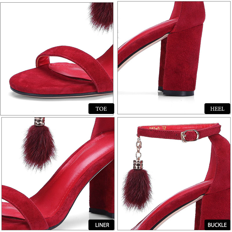 scamosciata Summer alto con Party in Decorazione pelle Fur Wetkiss Nero Quadrati Shoes Open tacco metallo Sandali Kid donna Rosso da Fashion Toe PpSpWd
