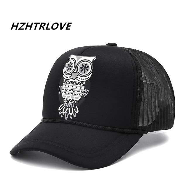 34cb5c23ef24b Moda Unisex algodón búho clásico del camionero gorra de béisbol Snapback  sombrero Vintage hombres mujeres Sol