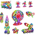 Mini Magnetic Designer  42/78/104PCS Magnetic Building Block  Learning Educational 3D DIY Construction Kids Baby Toys Gift