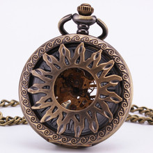 Greek Apollo Sun Vintage Antique Baroque Hollow Bronze Mechanical Pocket Watch Pendant Sweater Chain Clock Accessories