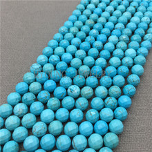 цена MY0153 Blue Tophus Beads,Faceted Round Beads,Natural Stone Beads For Jewelry Making, 15.5''Free Shipping онлайн в 2017 году