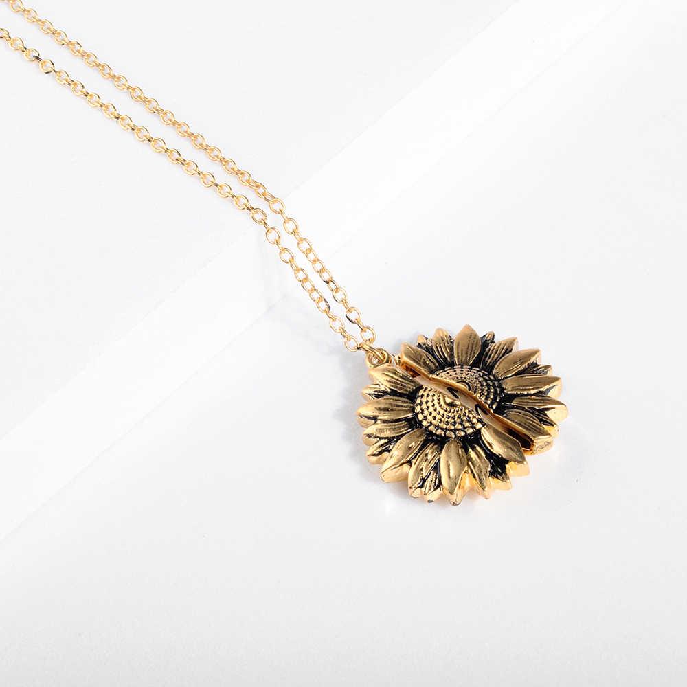 Đầm Vintage Hoa Hướng Dương Mề Đay Mặt Dây Chuyền Đẹp, Mặt Dây Chuyền Nam Bohemia Nữ Vàng Bạc Mở Khắc Chữ Cổ Người Yêu Tặng Dropshipping