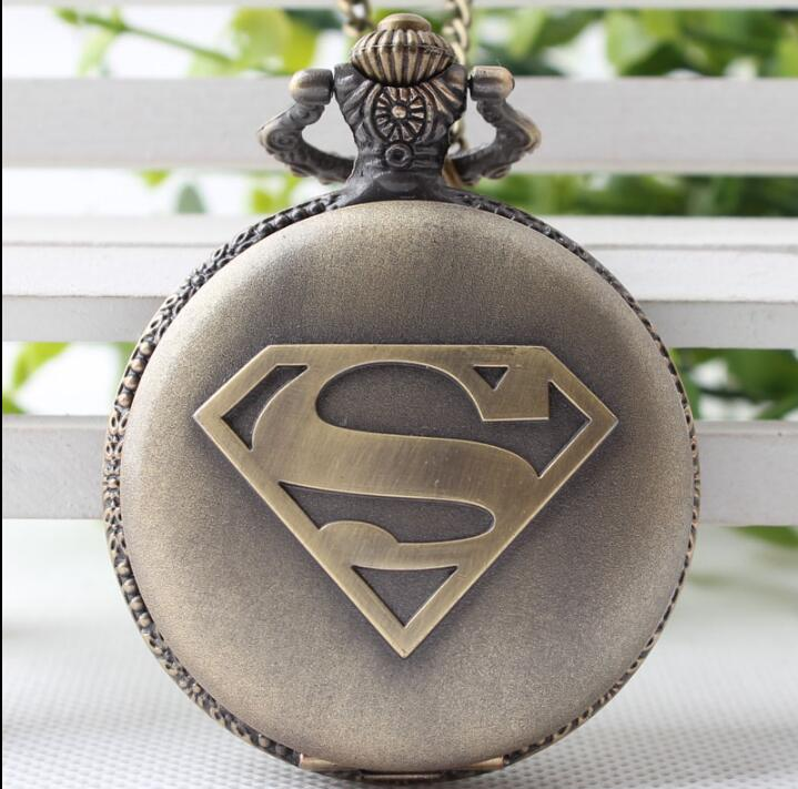 Fashion Classic Superman Pocket Watch With Chian MEN AND WOMAN Bronze Quartz Necklace Pocket Watch Gift Watches