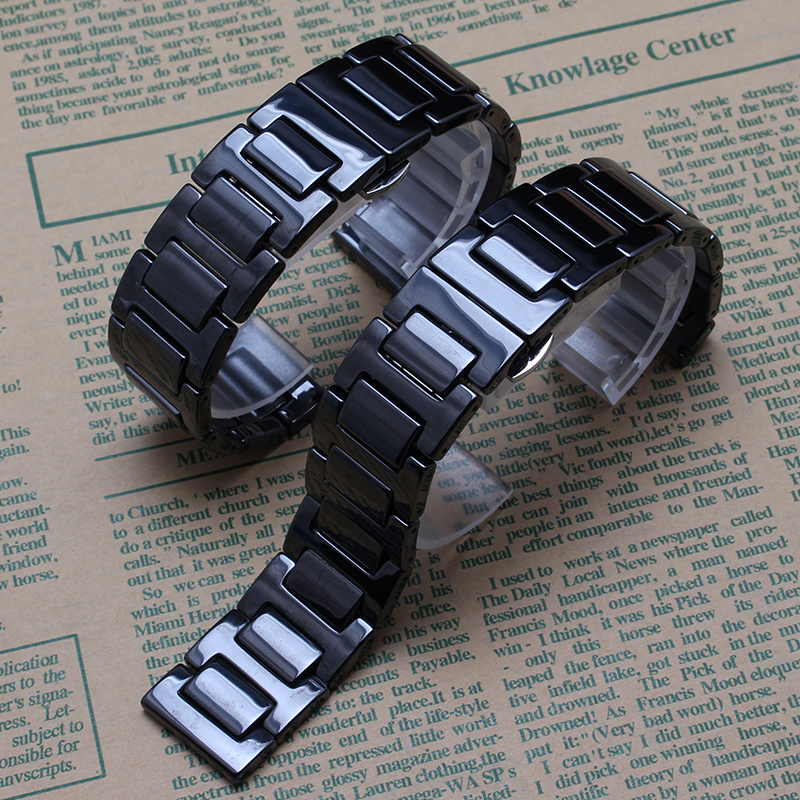 High quality Black Ceramic watcbands strap bracelet 14mm 16mm 18mm 20mm lady men watch band Polished Beautiful Watch accessories насос электрический berkut sp1010ер