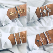 ZORCVENS 5Pcs/lot Bohemian Map Charm Bracelets Set Bangles For Women Multilayer Crystal Beads Heart Bracelet Gift(China)