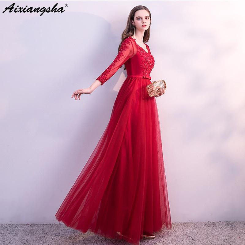 Long   Dress   Elegent Red   Prom     Dresses   2018 Scoop Floor-Length Lace Up Back Plus Size vestido de festa vestido longo Party   Dress