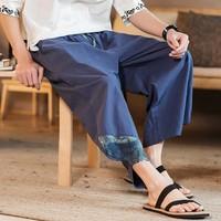 Men's pants Casual Slim Sports Pants Calf Length Linen Japanese Trousers Baggy Harem Pants kargo pantolon pantalones hombre