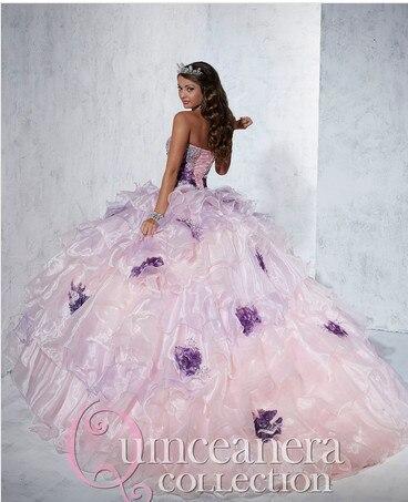 Rosa & Roxo vestido de Baile vestido de Doce 16 2016 vestido Quinceanera Vestidos com contas de Cristal Vestidos de 15 anos vestido de noiva B022