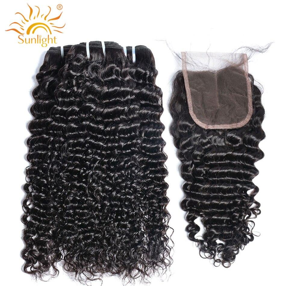 Brazilian Deep Wave Bundles With Closure Sunlight Human Hair Weave Curly Bundles With Closure NonRemy Hair