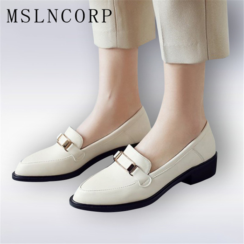 Plus Size 34-43 Spring Autumn Women Casual Pointed Toe Oxford Shoes for Woman Flats Comfortable Slip on Office Lady Single Shoes newest lady spring autumn shoes slip on lady soft leather flat platform fashion casual shoes women round toe loafers size 34 43