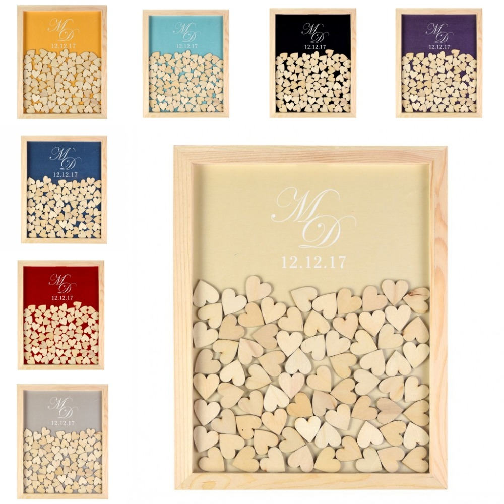 Gravierte Personalisierte Rustikalen Holz Drop Top Rahmen Gästebuch ...