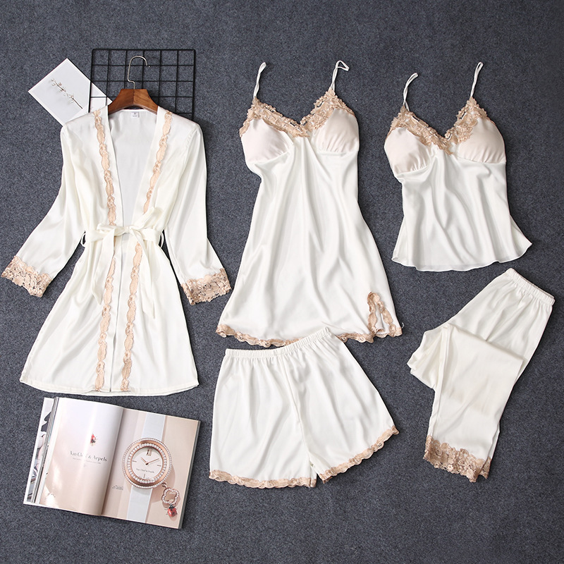 Pajama     Sets   Women   pajamas   nightgown Silk like sleepwear for women Robes babydolls women   pajamas     set   5pcs/  set     pajamas   lingerie