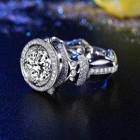 Супер большой GIA Diamond 3ct кольцо для мужчин Ручной работы 18 К белого золота Роскошные свадебные обручение GIA ювелирные кольца с бриллиантом Бе