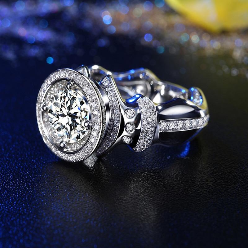 Super Big GIA Diamond 3ct Ring for Men Handmade 18K White Gold Luxury Wedding Engagement GIA Diamond Jewelry Rings Free DHL Ship