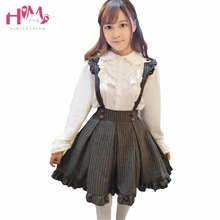 The Original Japanese School Uniform Gothic Lolita Gold Stripes Flying Sleeve Soft Sister Waist Body Dress With Shoulder Straps