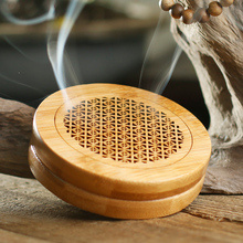 Bamboo Plate Incense Censer Box Furnace Circular Hollow Sandalwood Incense Burner Seat Car Lying Pomander Gifts W