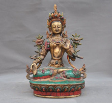 christmas Tibet bronze Gilt Enamel turquoise Red Coral Tara Kwan-Yin goddess Buddha statue halloween