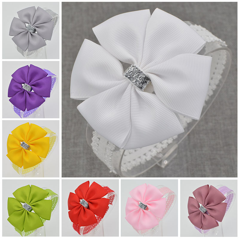 22 color new Baby hair bow flower Headband bowknot ribbon newborn toddler Hair Band Handmade DIY hair accessories for children