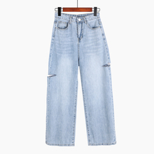Summer Jeans Woman Vintage High Waist Boyfriend Jeans For Women Casual Bleached Denim Wide Leg Pants Trousers цена в Москве и Питере