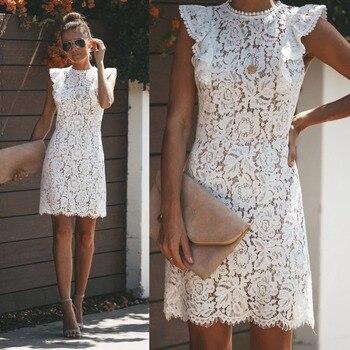 Летнее кружевное платье женское кружевное цветочное элегантное винтажное платье без рукавов с круглым вырезом повседневное лоскутное обл...