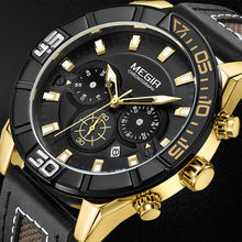 אופנה Militrary גברים קוורץ שעון יד מקרית עור רצועת גברים ספורט שעונים MEGIR הכרונוגרף להפסיק לצפות שעון חדש