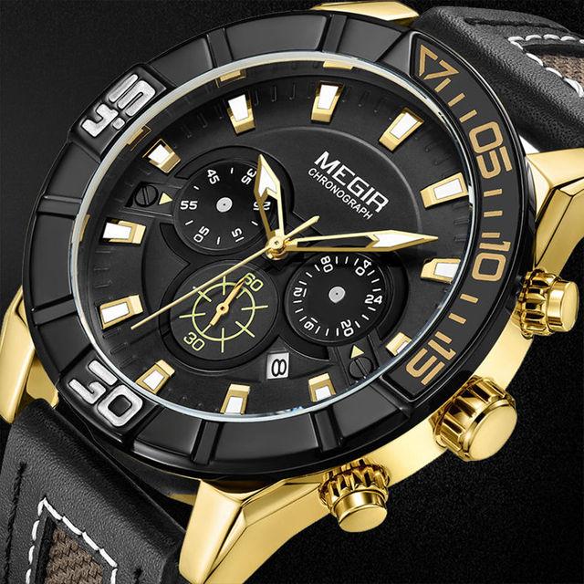 الأزياء Militrary رجال كوارتز ساعة معصم جلد عارضة حزام الرجال الرياضة الساعات MEGIR كرونوغراف إيقاف ووتش ساعة جديدة