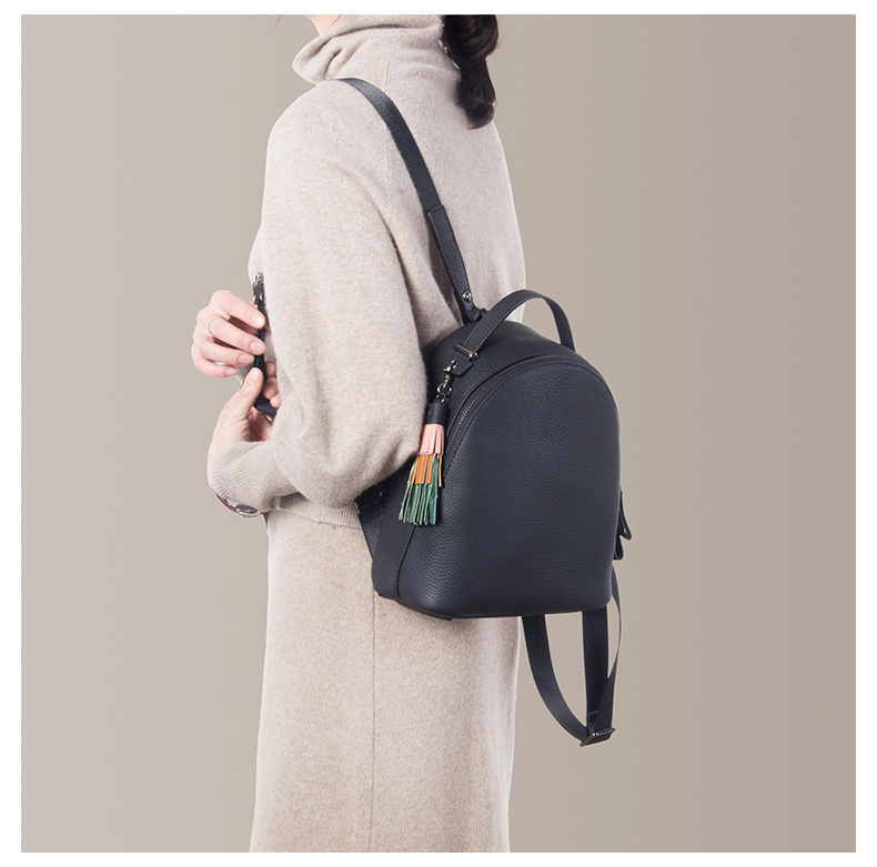 Image 3 - Backpack female 2020 new women simple soft leather cowhide mini  backpack luxury fashion small bag female tassel school  backpacksBackpacks