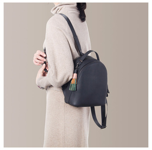 Image 3 - Leather Small Backpack Women 2020 New Female Soft Leather Cowhide Mini Backpack Luxury Fashion Small Bag Tassel Schoolbag Girl