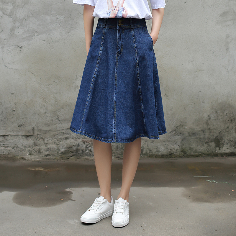 Yichaoyiliang Summer Women High Waist Vintage Denim Skirts Knee ...