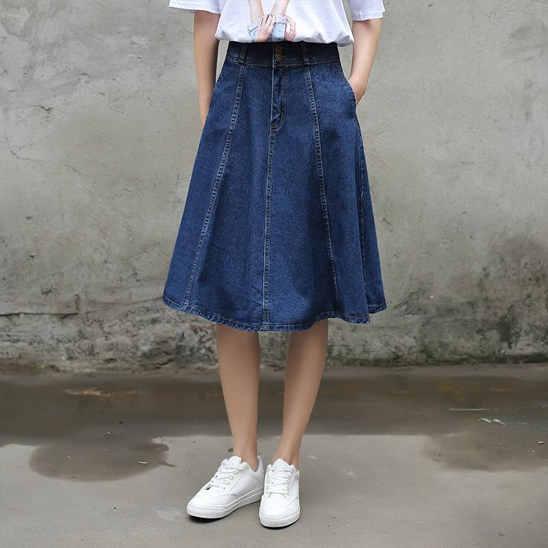 Yichaoyiliang Summer Women High Waist Vintage Denim Skirts Knee ...