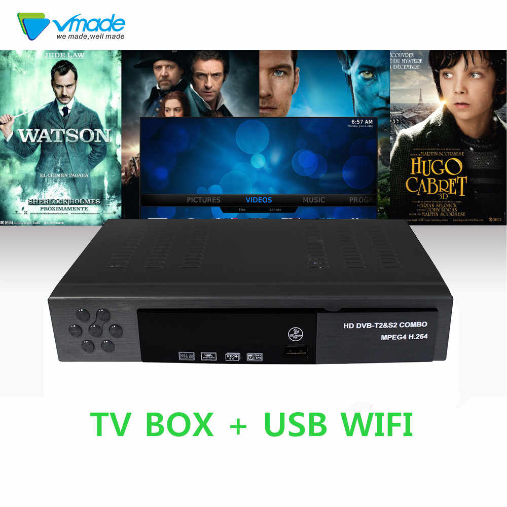 Vmade DVB T2&S2 combo HD Digital satellite TV Receptor Support NewCAM Biss  key Power VU Dobly AC-3 TV Receiver + usb wifi Dongle