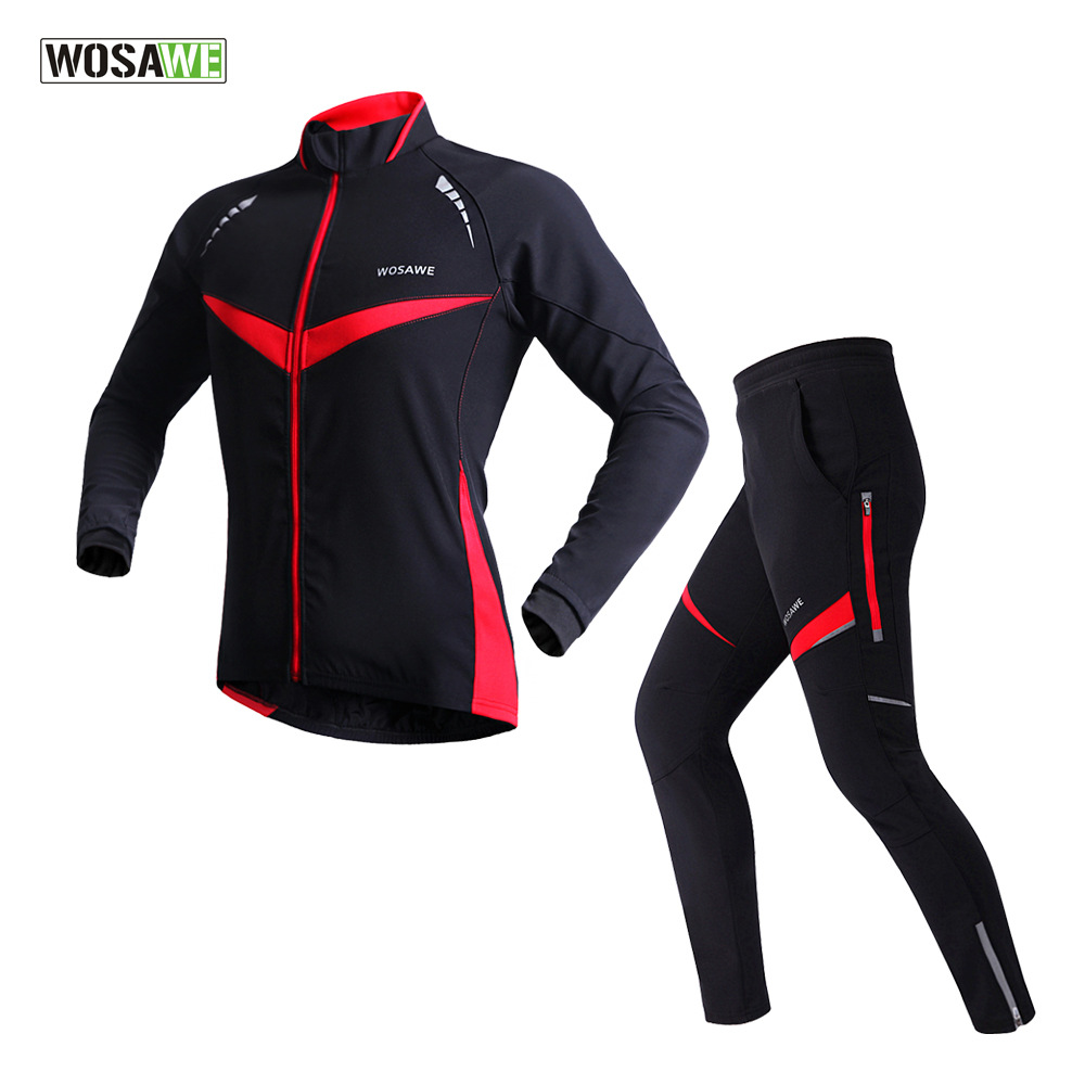 WOSAWE Men MTB Long Sleeve Cycling Jackets Sets Winter Thermal Windproof Waterproof Bike Bicycle Clothing Sets ropa ciclismo купить дешево онлайн