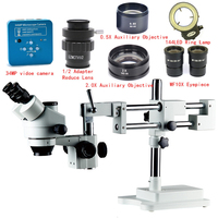 34MP Industrial Camera 3.5X 7X 45X 90X Double Boom Stand Zoom Simul Focal Trinocular Stereo Microscope For Industrial PCB Repair