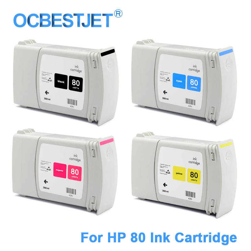 4 Pieces/Set For HP 80 Replacement Remanufactured Ink Cartridge For HP Designjet 1050c 1050c Plus 1055cm Plus Printer 350ML/PC