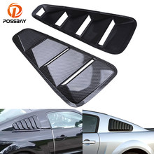 POSSBAY Car Stickers Imitation Carbon Fiber Car Rear Window Louver Cover Side Panel Vent Fit for 2005-2014 Ford Mustang Coupe(China)
