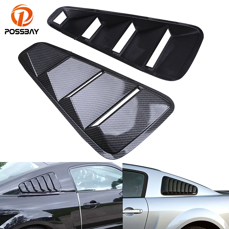 POSSBAY Car Stickers Imitation Carbon Fiber Car Rear Window Louver Cover Side Panel Vent Fit for 2005 2014 Ford Mustang Coupe