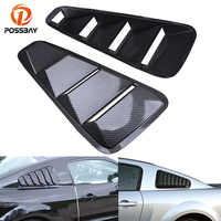 POSSBAY Imitation Carbon Fiber Car Rear Window Louver Cover Fit for 2005 2014 Ford Mustang Coupe Auto Side Window Louver