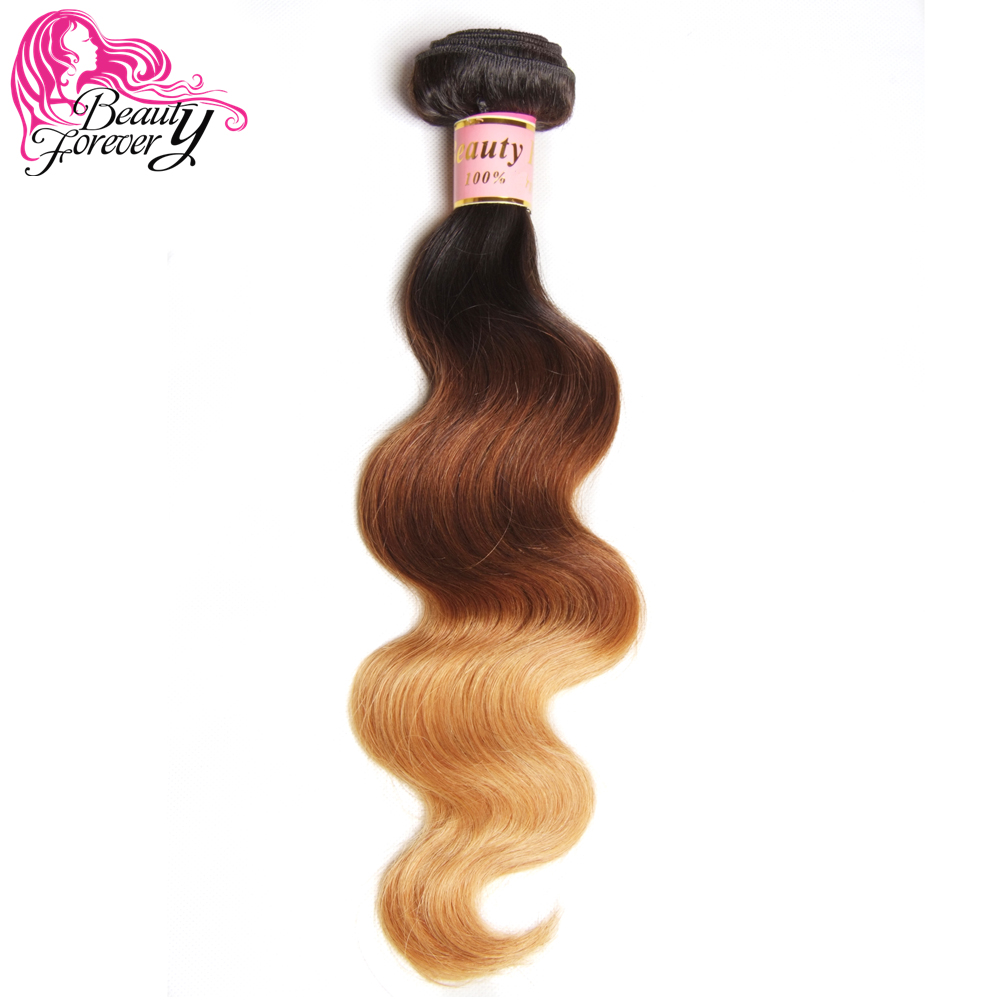 Beauty Forever Ombre Peruvian Hair Body Wave Human Hair Weaves Remy 1 Bundle Three Tone Color