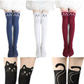 2015 New 4 Colors Nylon Cat Head And Tail Tattoo Stockings Lolita Velvet Women Sexy Knee Socks Tights Cute Printed Pantyhose