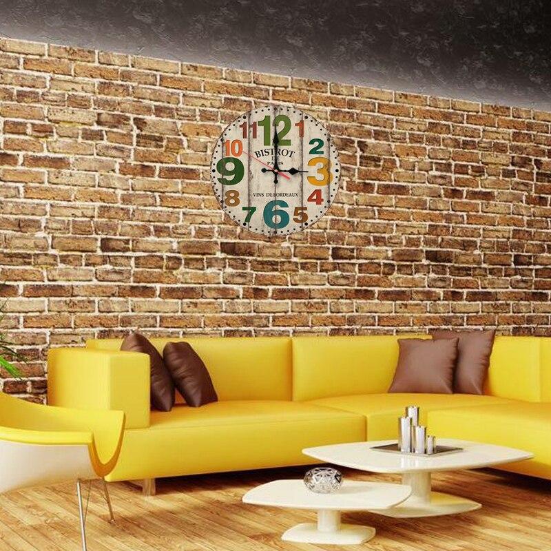 wall clock wooden clocks home decor living room quartz watch single ...